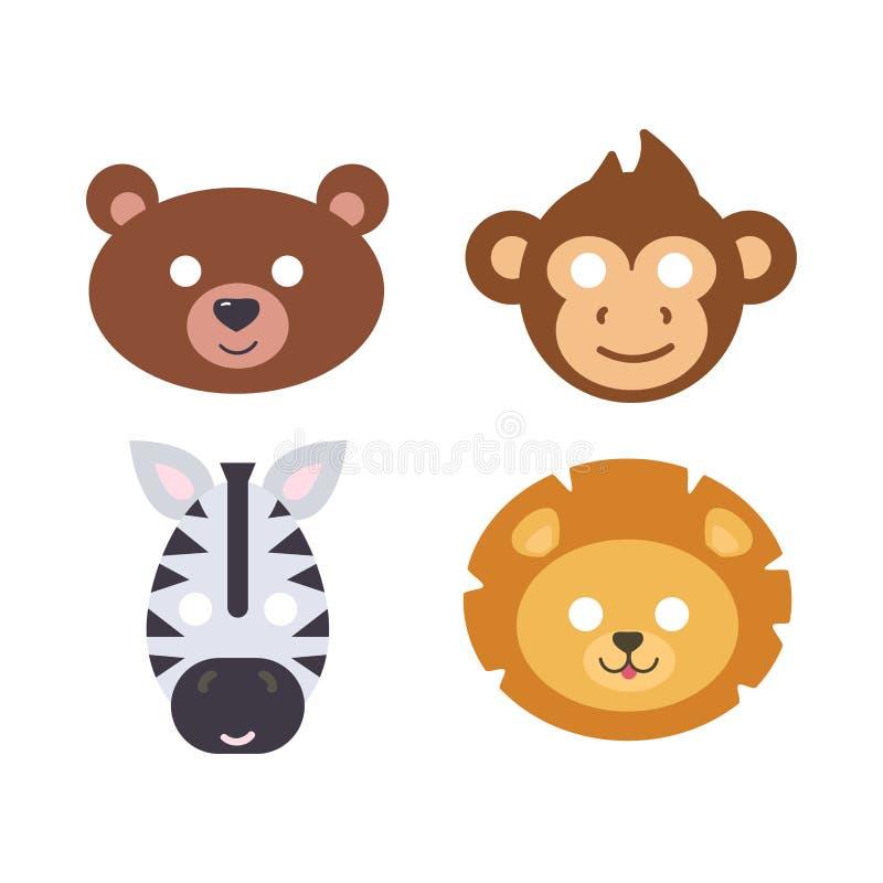 Van het het masker vector vastgestelde festival van dierencarnaval de decoratiemaskerade en leuk geïsoleerd het beeldverhaal hoof stock illustratie