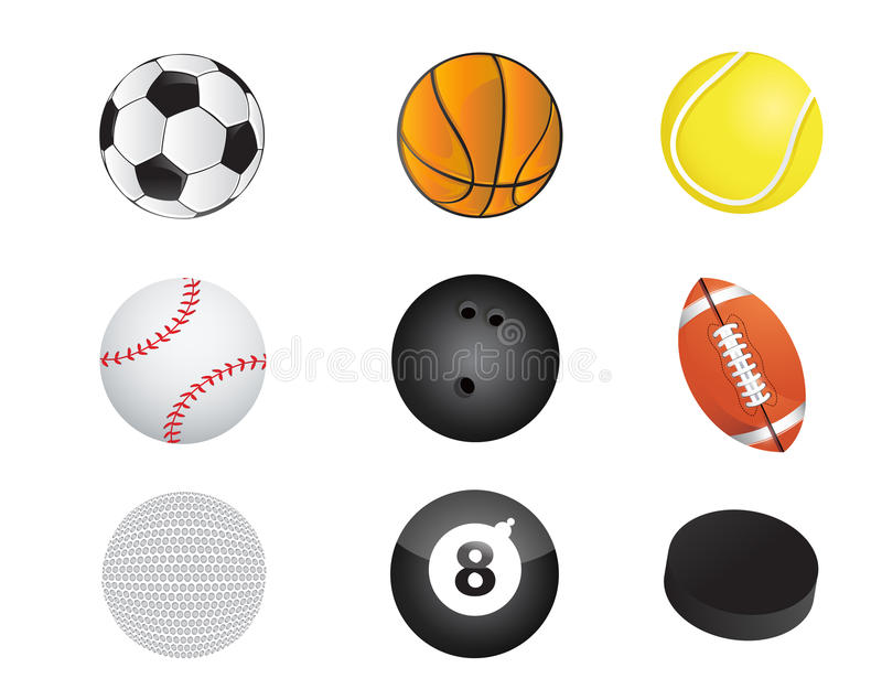 van het het materiaalpictogram van sportenballen de vastgestelde illustratie royalty-vrije illustratie