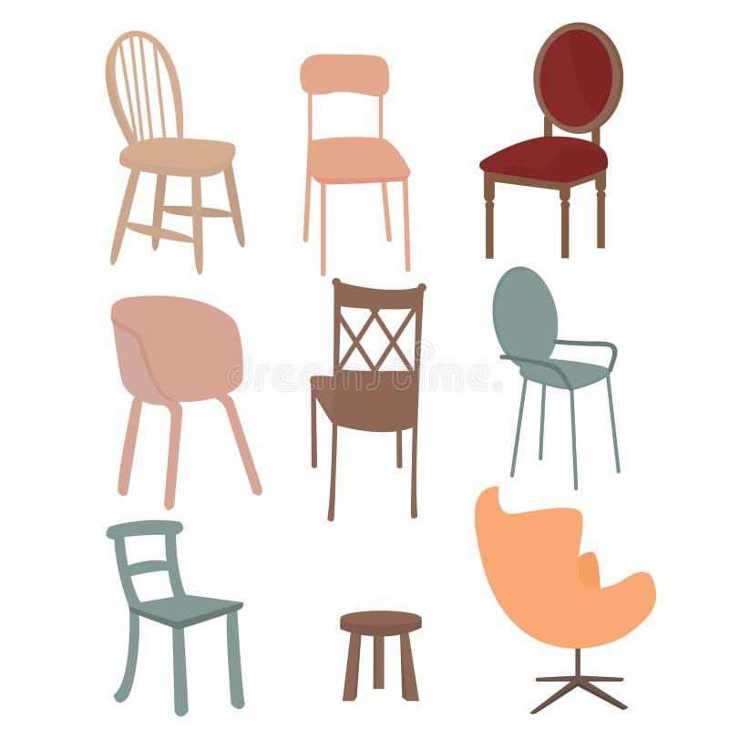 Van het het meubilairpictogram van de stoelenleunstoel de vastgestelde vlakke binnenlandse grafische illustratie stock illustratie