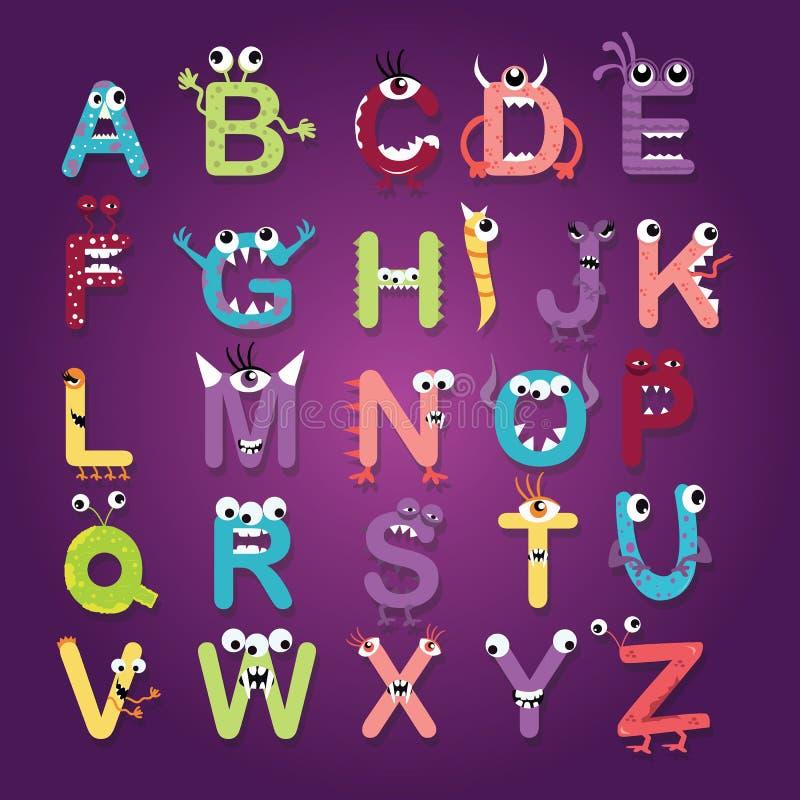 Van het het monsterkarakter van de alfabetdoopvont van de pretjonge geitjes ontwerpen de grappige kleur-volledige brieven abc vec vector illustratie