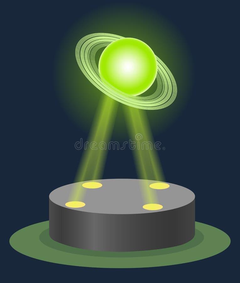 Van het het museumcentrum van de innovatieastronomie het hologram van Saturn op verlicht voetstuk Toekomstige de fysicales van he royalty-vrije illustratie