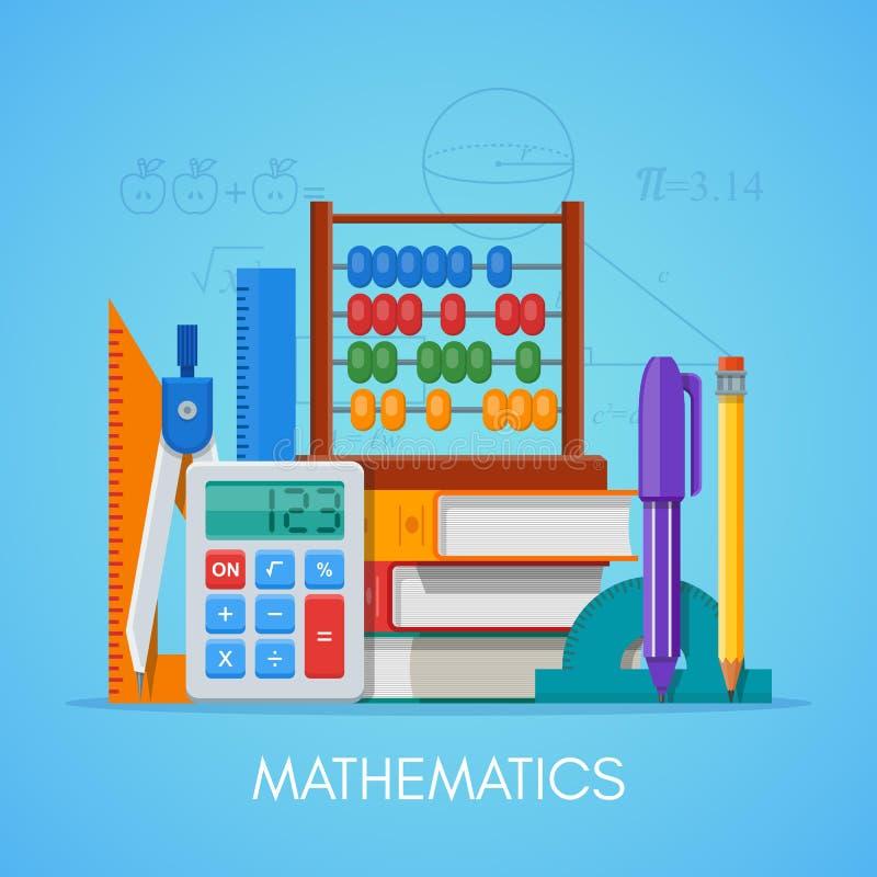 Van het het onderwijsconcept van de wiskundewetenschap de vectoraffiche in vlak stijlontwerp royalty-vrije illustratie
