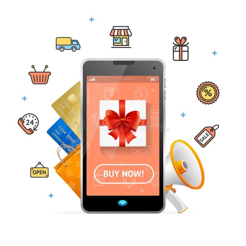 Van het het Ontwerp de Online Concept van het elektronische handelweb Mobiele Telefoon App Vector stock illustratie