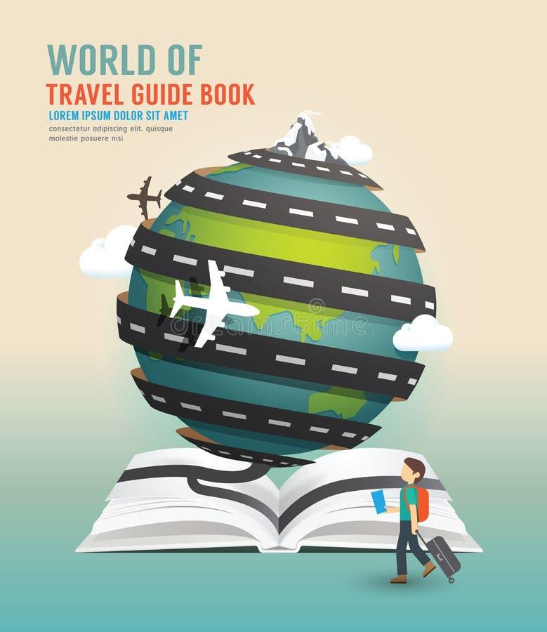 Van het het ontwerp de open boek van de wereldreis van het de gidsconcept vectorillustratie vector illustratie