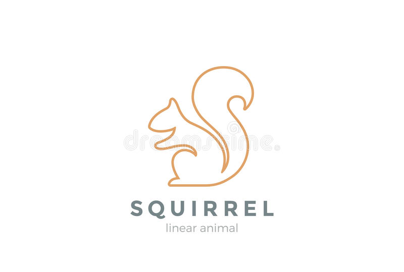 Van het het ontwerp de vectormalplaatje van het eekhoornembleem Lineaire stijl royalty-vrije illustratie
