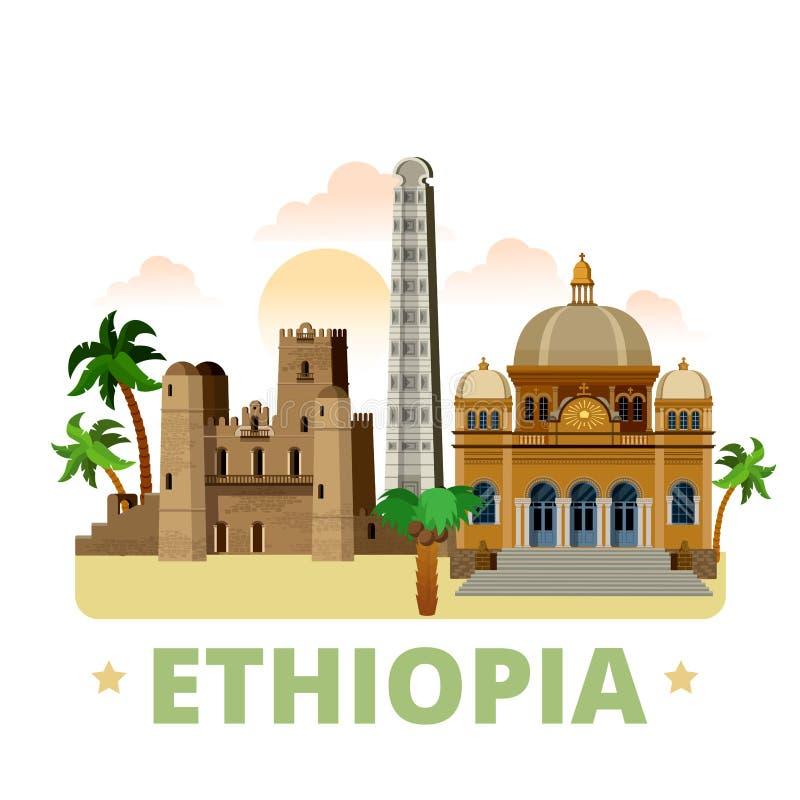 Van het het ontwerpmalplaatje van het land van Ethiopië Vlakke het beeldverhaalstyl royalty-vrije illustratie
