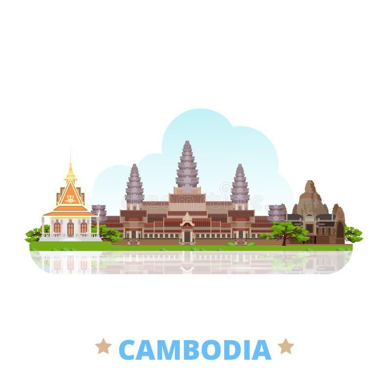 Van het het ontwerpmalplaatje van het land van Kambodja Vlakke het beeldverhaalstyl vector illustratie