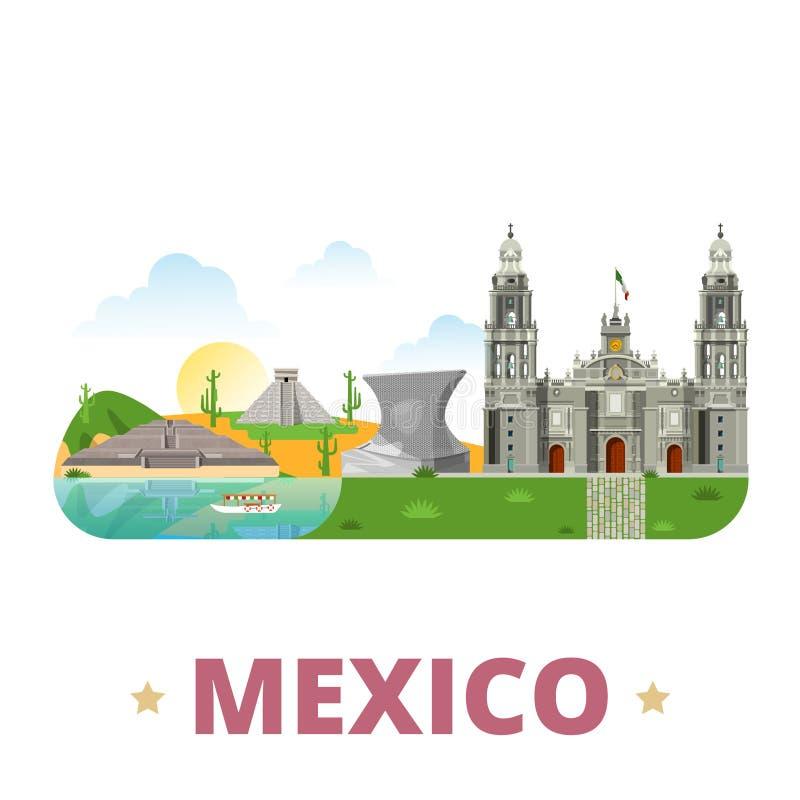 Van het het ontwerpmalplaatje van het land van Mexico Vlakke het beeldverhaalstijl stock illustratie