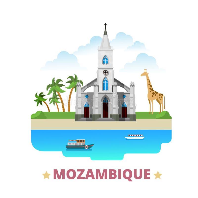 Van het het ontwerpmalplaatje van het land van Mozambique het Vlakke beeldverhaal st royalty-vrije illustratie