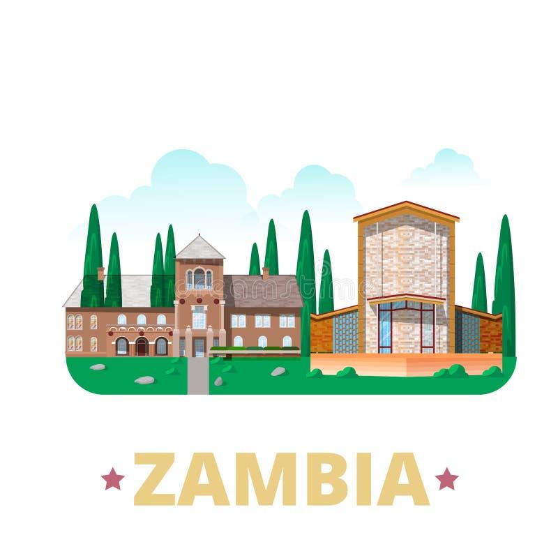 Van het het ontwerpmalplaatje van het land van Zambia Vlakke het beeldverhaalstijl vector illustratie