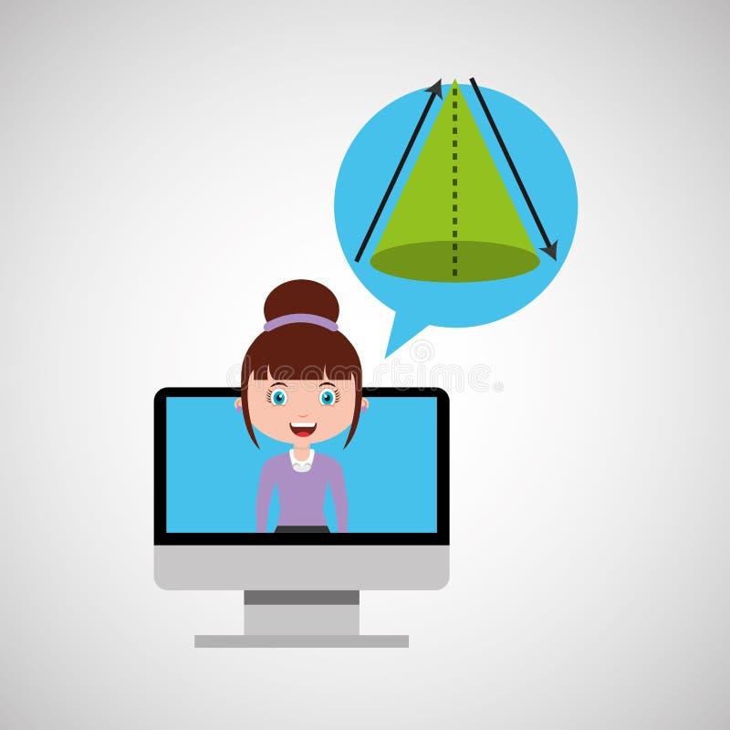 Van het het ontwerpmeisje van het meetkundeonderwijs online de bellentoespraak en royalty-vrije illustratie