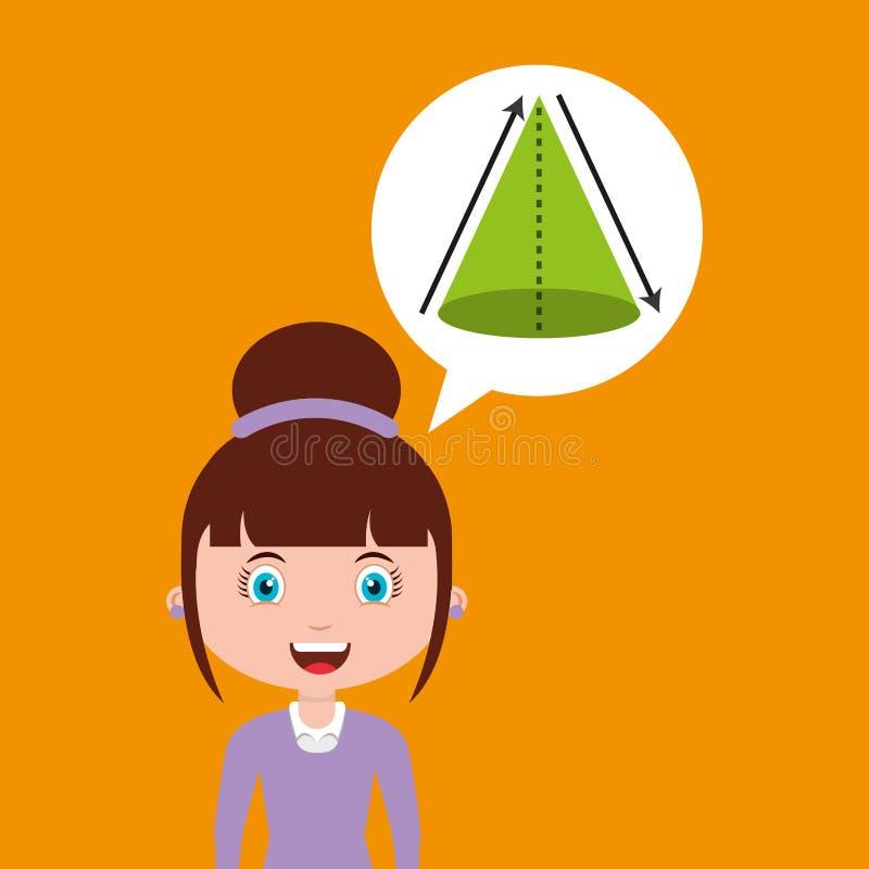 Van het het ontwerpmeisje van het meetkundeonderwijs online de bellentoespraak en stock illustratie