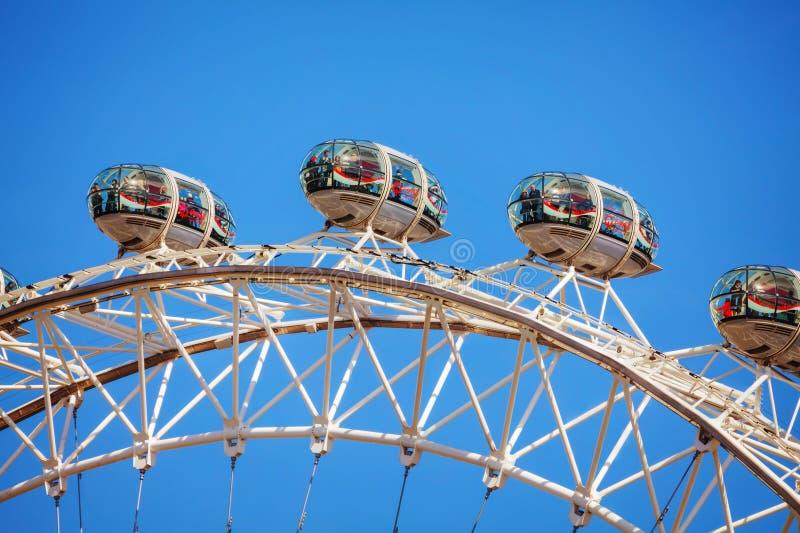 Van het het Oogreuzenrad van Londen dichte omhooggaand in Londen, het UK stock afbeelding