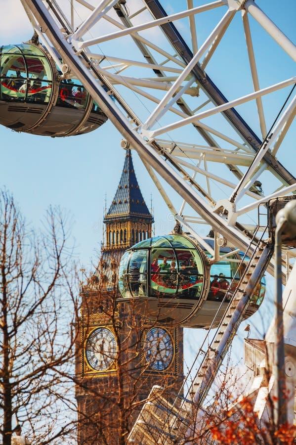 Van het het Oogreuzenrad van Londen dichte omhooggaand in Londen, het UK royalty-vrije stock foto