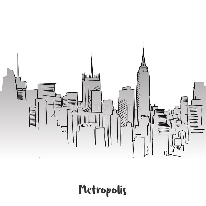 Van het het Overzichtssilhouet van de metropool de Kaartontwerp royalty-vrije illustratie