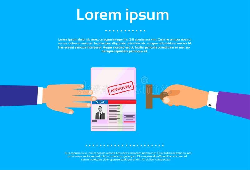 Van het het Paspoort de Vlakke Pictogram van de visumzegel Zakenman Hand royalty-vrije illustratie