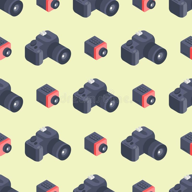 Van het het patrooninstrument van de fotocamera kijkt de isometrische vector naadloze beroeps van de het materiaalfotografie obje vector illustratie