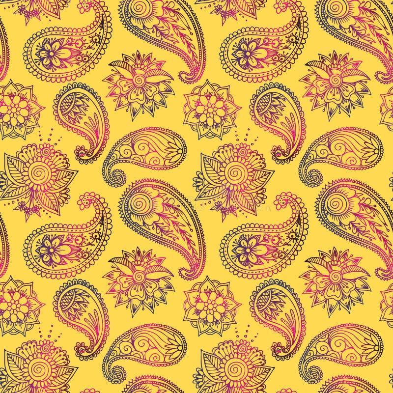 Van het het patroonontwerp van de Mehendy gouden bloem naadloze van de tracery vectorillustratie bloemenbacground stock illustratie