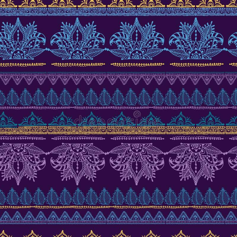 Van het het patroonontwerp van de Mehendybloem naadloze van de tracery vectorillustratie bloemenbacground royalty-vrije illustratie