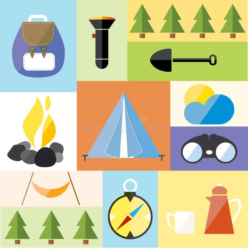 Van het het Pictogramavontuur van de kamptent de Vastgestelde Stijging Forest Travel stock illustratie