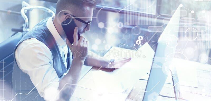 Van het het Pictogramdiagram van de concepten de Globale Verbinding Virtuele van de de Grafiekinterface Markt Reserch Gebaarde Za royalty-vrije stock afbeeldingen