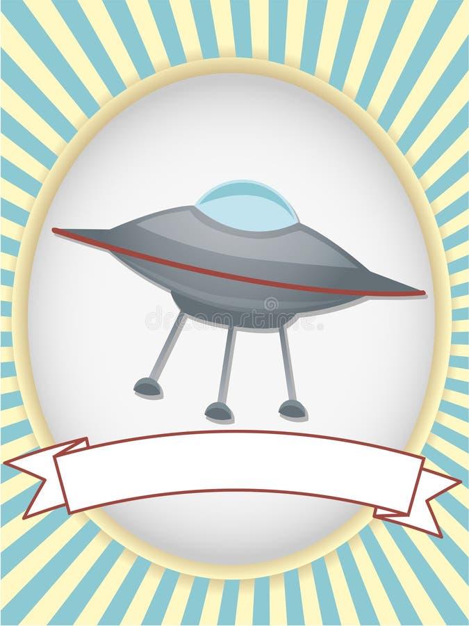 Van het het productetiket van het UFO het heldere ovaal stock illustratie