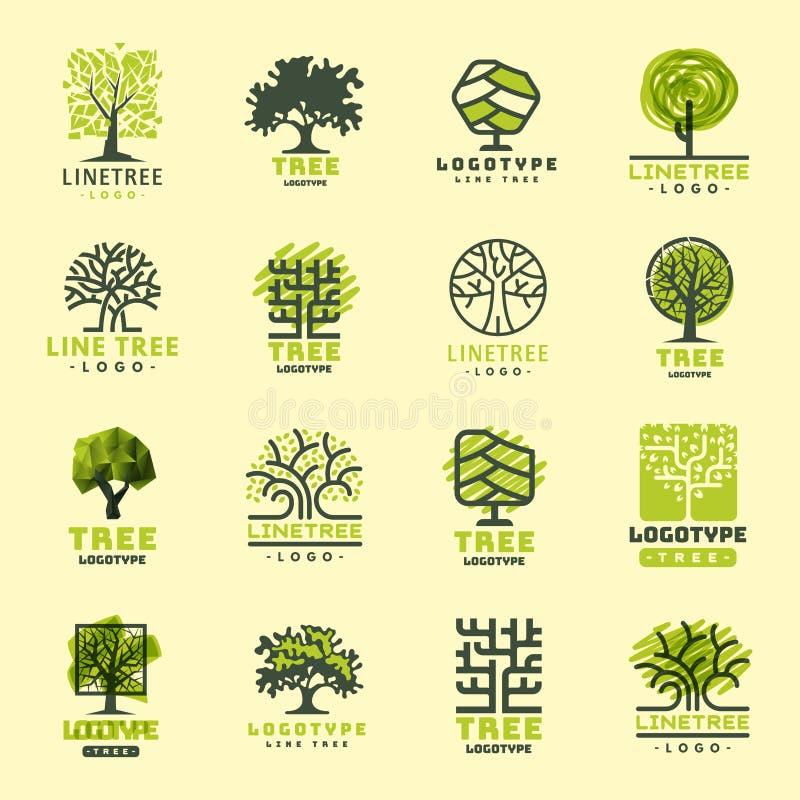 Van het het silhouet boskenteken van de boom bedekt het openluchtreis groene naald natuurlijke kenteken lijn nette vector stock illustratie