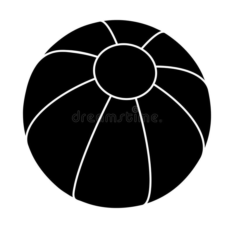 Van het het silhouet vectorsymbool van de strandbal het pictogramontwerp stock illustratie