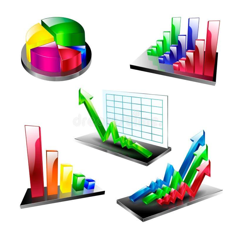 Van het het symboolelement van het businessplan vastgestelde de pictogrammenpijl vector illustratie