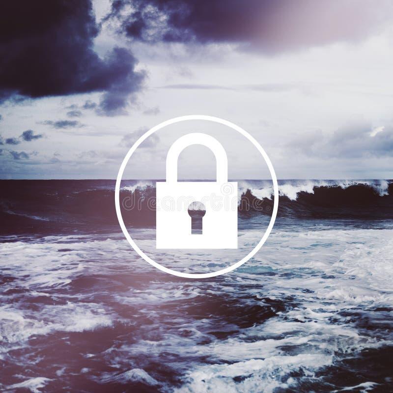 Van het het Systeemwachtwoord van de hangslotnetwerkbeveiliging de Privacyconcept stock foto