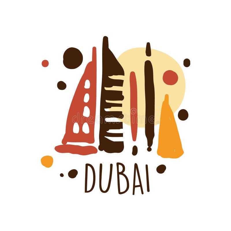 Van het het toerismeembleem van Doubai het malplaatjehand getrokken vectorillustratie royalty-vrije illustratie