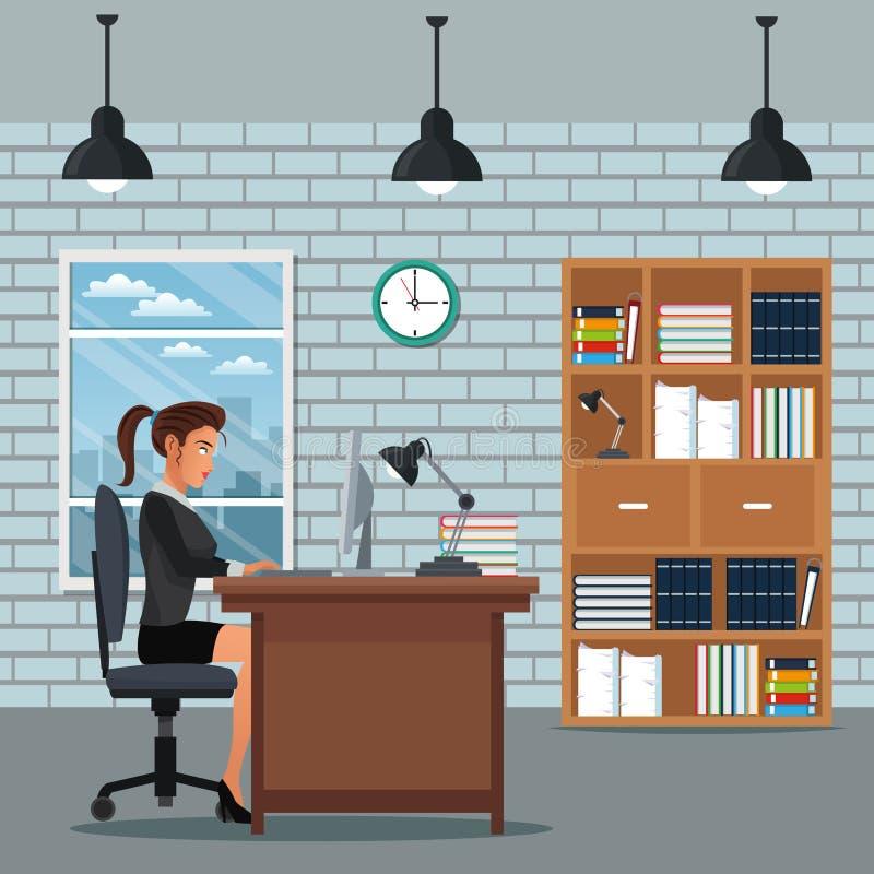 Van het het werkbureau van de vrouwenzitting van de het boekenrekklok de muurbaksteen stock illustratie