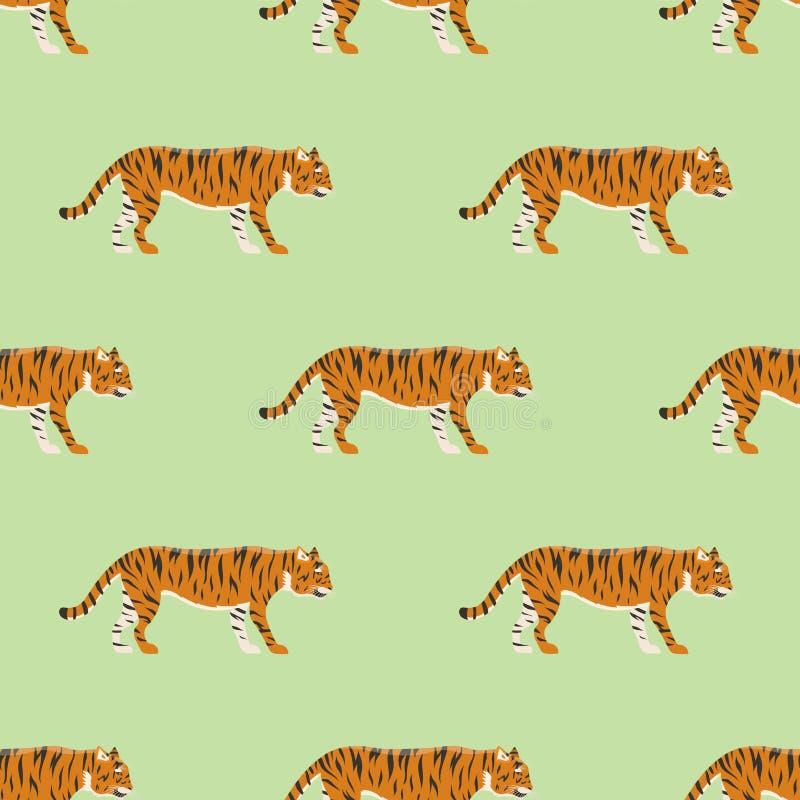 Van het het wild dierlijke gevaar van de tijgeractie van het het zoogdier naadloze patroon van het bont wilde Bengalen onbetrouwb stock illustratie
