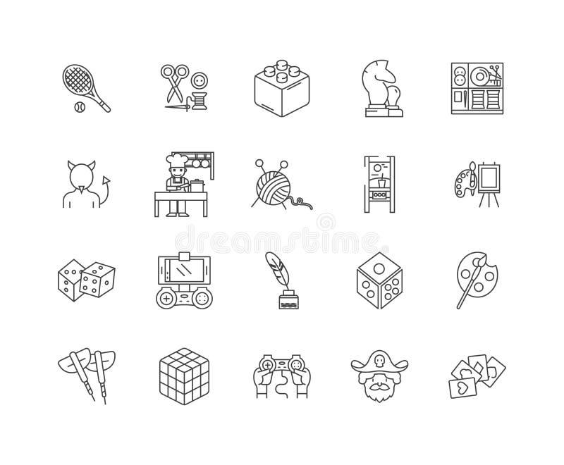 Van het hobbystuk speelgoed en spel de pictogrammen van de winkellijn, tekens, vectorreeks, het concept van de overzichtsillustra royalty-vrije illustratie