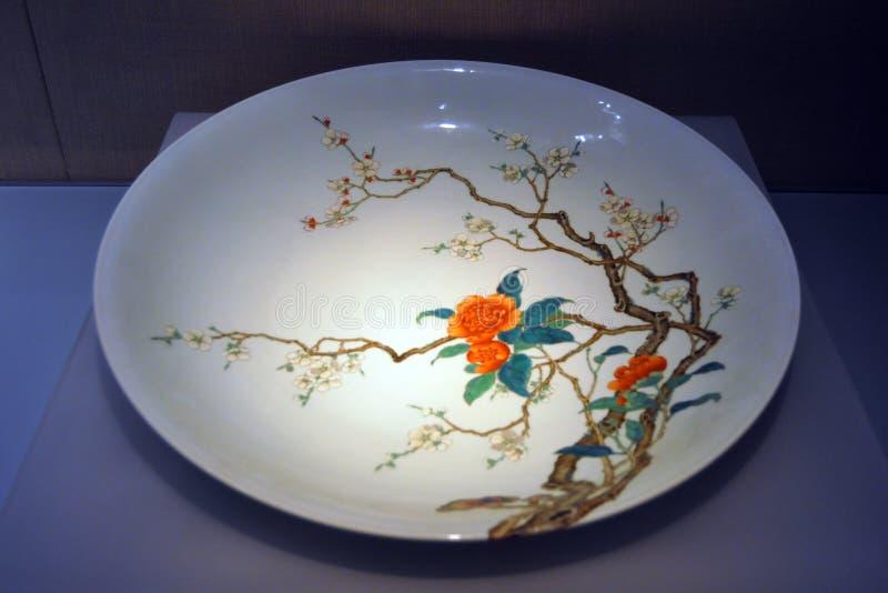 Van het het hofporselein van de Qingsdynastie de plaat China royalty-vrije stock foto's