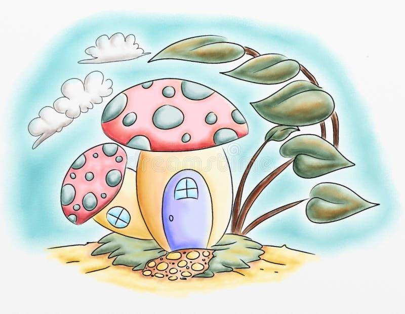 Van het het huisbeeldverhaal van de paddestoelfee de illustraties van de het waterkleur stock illustratie