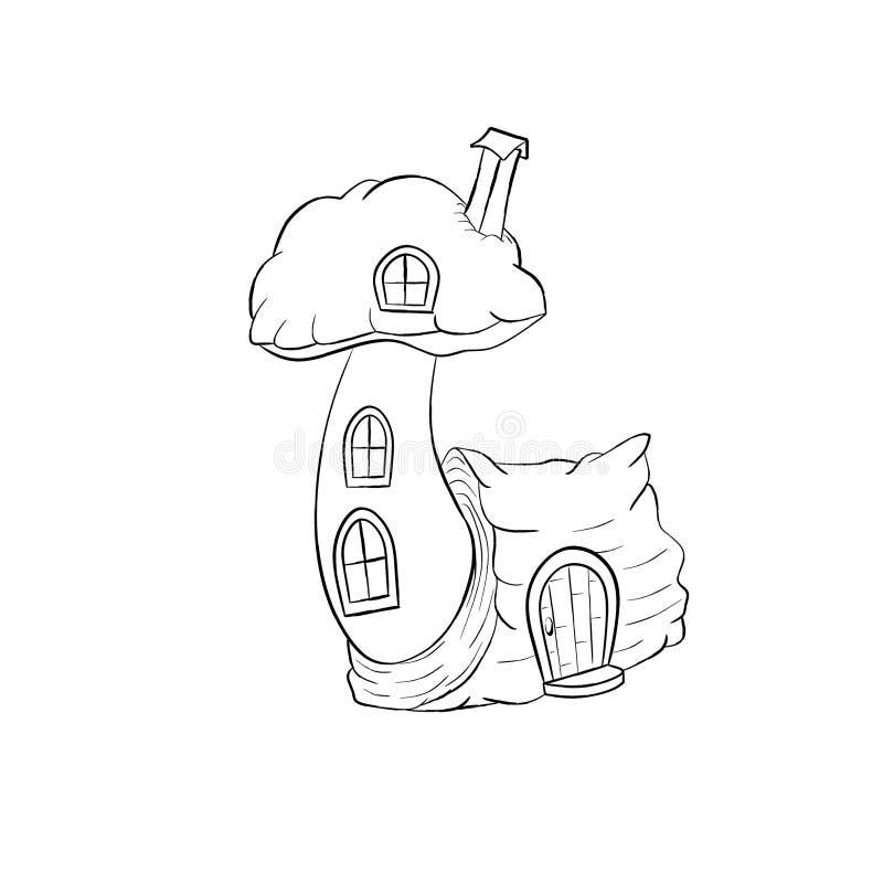 Van het het huisbeeldverhaal van de paddestoelfee de kleurende pagina royalty-vrije illustratie