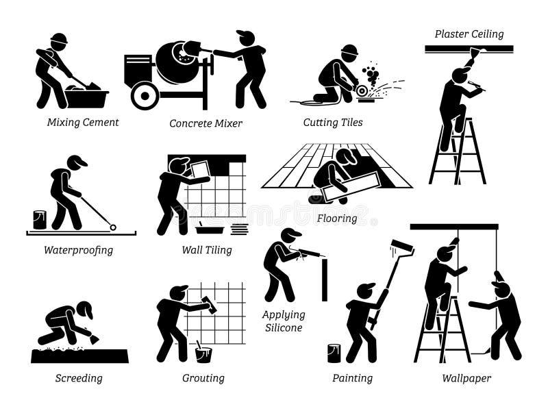 Van het het huisverbetering en Huis Vernieuwingspictogrammen stock illustratie