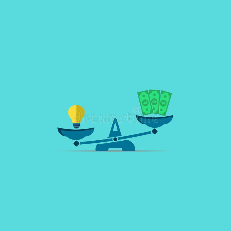 van het ideelamp en geld dollars op schalen Vector modern symbool vector illustratie