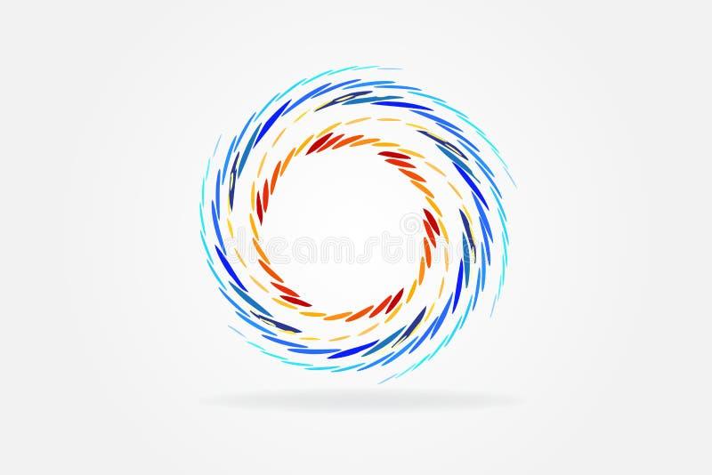 Van het het identiteitskaartpictogram van embleem spiraalvormig golven vectorontwerp als achtergrond vector illustratie