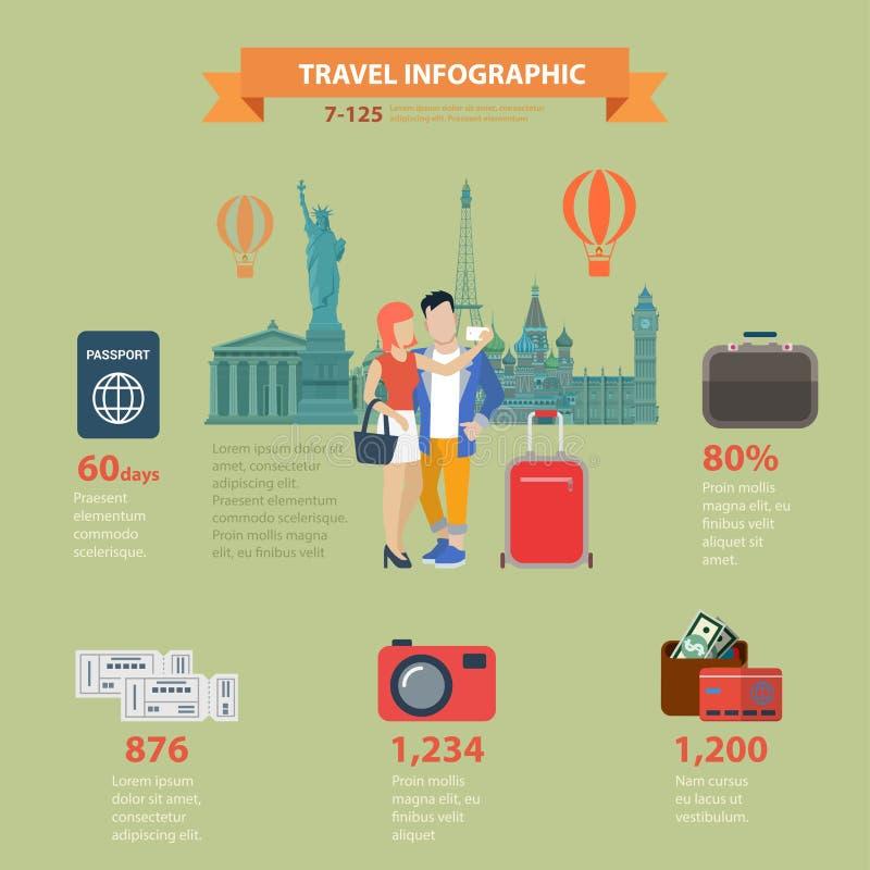 Van het infographicsvisum van de reisvakantie vlak vector het paspoortkaartje royalty-vrije illustratie