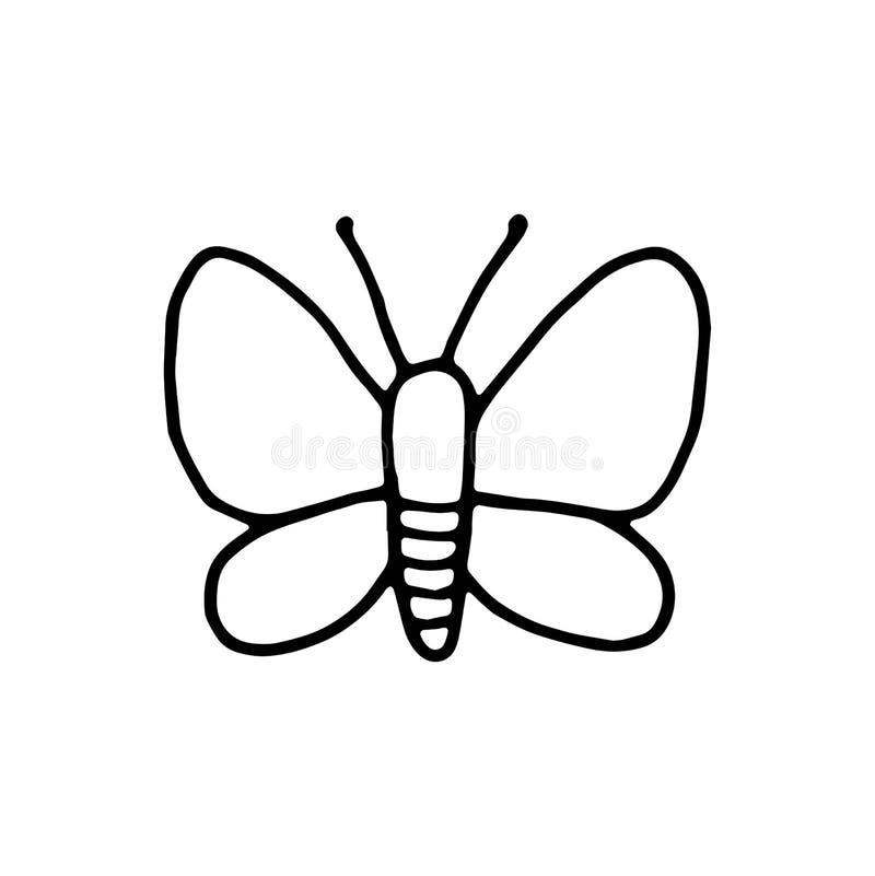 Van het het insectpictogram van de vlindermot het geïsoleerde voorwerp tekening op witte rug vector illustratie