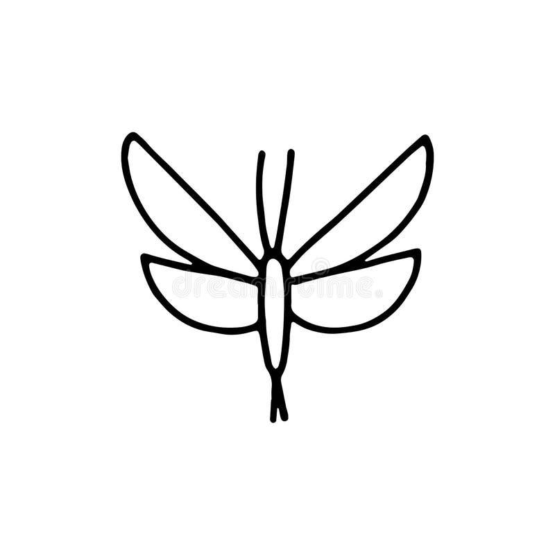 Van het het insectpictogram van de vlindermot het geïsoleerde voorwerp tekening op witte rug royalty-vrije illustratie