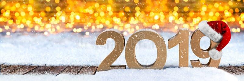 van het jaarkerstmis van 2019 de gelukkige nieuwe van de de groetkaart brief van het het aantalsymbool stock foto
