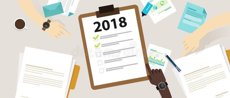 van het het jaarresolutie en doel van 2018 nieuwe bedrijfscontrolelijst die samen plannen vector illustratie