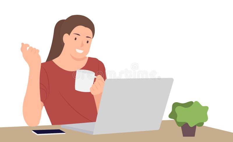 Van het het karakterontwerp van beeldverhaalmensen van de de vrouwenholding de jonge zitting van de de koffiekop voor bureau die  vector illustratie