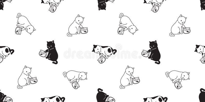 Van het het katjescalico van het katten herhaalt naadloze patroon vectorgoudvis dozijnen het sjaal geïsoleerde behang van de beel royalty-vrije illustratie