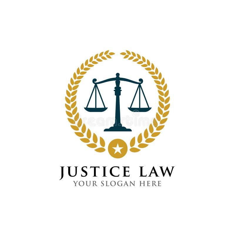 Van het het kentekenembleem van de rechtvaardigheidswet het ontwerpmalplaatje met schalen vectorillustratie vector illustratie