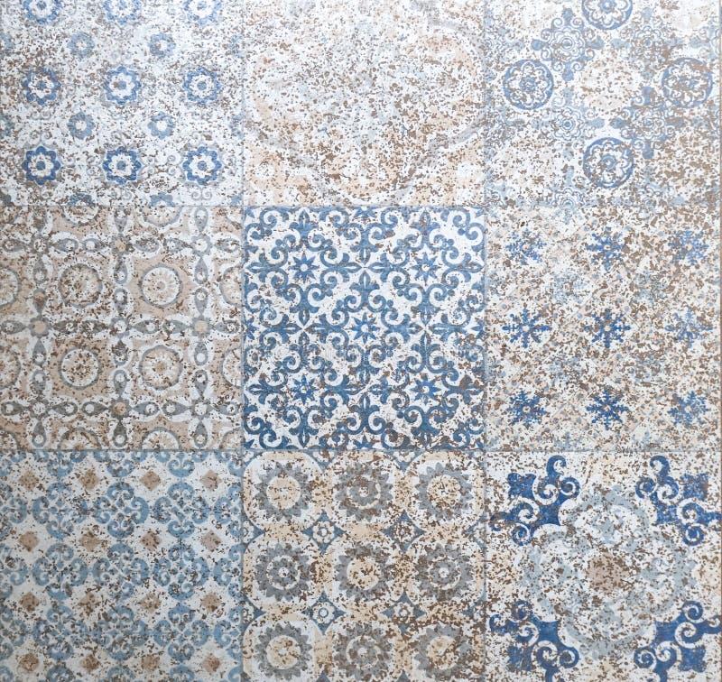 Van het keramische tegelpatroon elegante de wijnoogst en van Toscanië bloemen Beauti stock foto