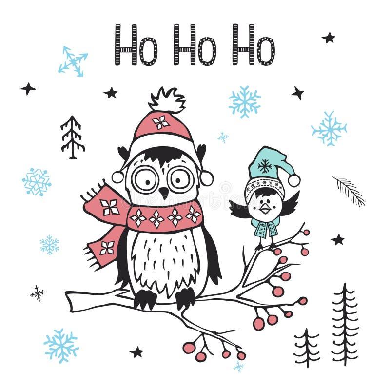 Van het Kerstmis gelukkige nieuwe jaar van de winterkerstmis de groetkaart met leuke grappige noordpooluil en vogel royalty-vrije illustratie